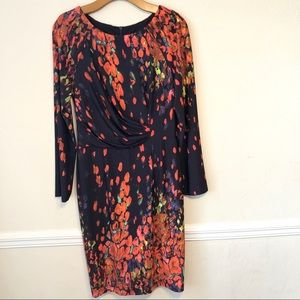 David Meister Printed Faux Wrap Dress